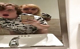 Trans girl fucks sissy boyfriend at aquarium bathroom