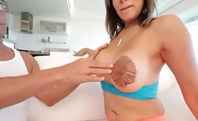 Pretty big tits shemale gets fucked by a huge latin cock